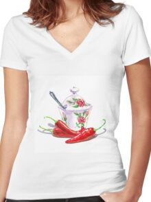 Hot Sweet Chili Peppers Women's Fitted V-Neck T-Shirt