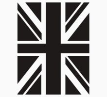 BRITISH, UNION JACK FLAG, UK, UNITED KINGDOM IN BLACK Kids Clothes
