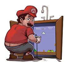 Mario Fixing the Pipes by mandraws