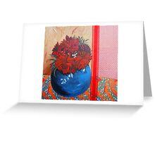 dahlias in blue bowl Greeting Card