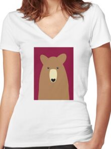 GRIZZLY BEAR PORTRAIT Women's Fitted V-Neck T-Shirt