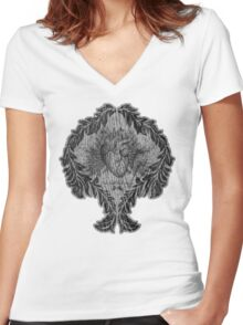 the tell tale heart : black ink edition Women's Fitted V-Neck T-Shirt