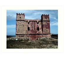 Red tower - water paint effect Art Print