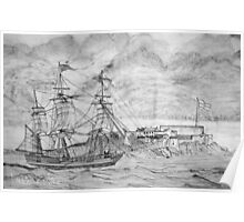 Sailing Ship off Castle Cornet in Guernsey Poster