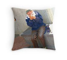 Ray busking Throw Pillow
