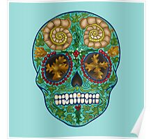 Winter skull, holly king- turquoise Poster