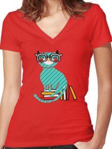 Smart Kitty Women's Fitted V-Neck T-Shirt