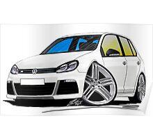 VW Golf (Mk6) R (5dr) White Poster