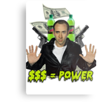 "Nicolas Cage - ""Money Equals Power"" Metal Print"