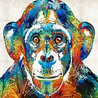 Colorful Chimp Art - Monkey Business - By Sharon Cummings by Sharon Cummings