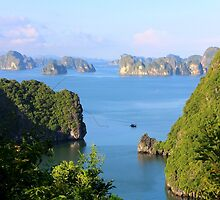 Bay Panorama - Ha Long Bay, Vietnam. by Tiffany Lenoir