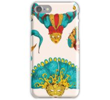 Venetian mask vintage set colored and  isolated on the white background iPhone Case/Skin