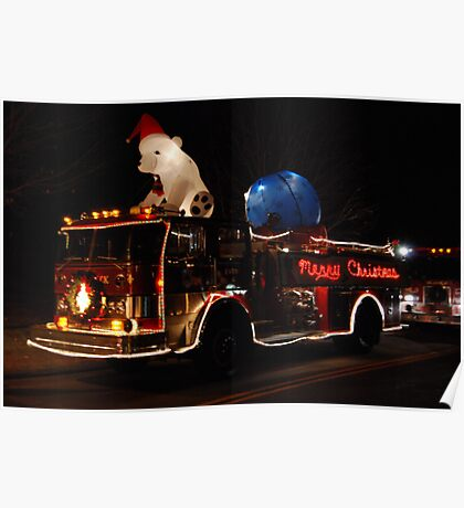 Merry Christmas Fire Truck Poster
