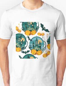 Vector halloween flat graphic banner with pumpkins and bat Unisex T-Shirt