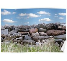 old stone wall in county Kerry Ireland Poster