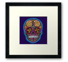 Winter Skull, Holly King, Pink with Turquoise glow Framed Print