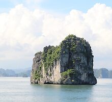 Rock Floats on Water - Ha Long Bay, Vietnam. by Tiffany Lenoir