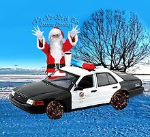 HO HO HOLD ON SEASONS GREETING HUMEROUS POLICE SANTA PILLOW AND OR TOTE BAG by ✿✿ Bonita ✿✿ ђєℓℓσ