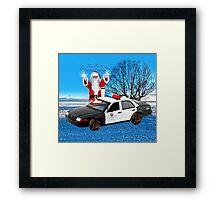 HO HO HOLD ON SEASONS GREETING HUMEROUS POLICE SANTA PILLOW AND OR TOTE BAG Framed Print