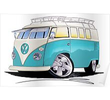 VW Splitty (Custom Blue) Camper Van Poster