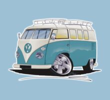 VW Splitty (Custom Blue) Camper Van One Piece - Short Sleeve