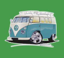 VW Splitty (Custom Blue) Camper Van One Piece - Short Sleeve