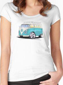 VW Splitty (Custom Blue) Camper Van Women's Fitted Scoop T-Shirt