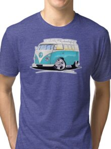 VW Splitty (Custom Blue) Camper Van Tri-blend T-Shirt