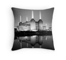 Battersea power station mono Throw Pillow