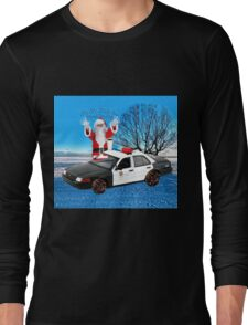 HO HO HOLD ON SEASONS GREETING HUMEROUS POLICE SANTA PILLOW AND OR TOTE BAG Long Sleeve T-Shirt