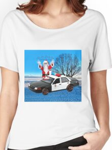 HO HO HOLD ON SEASONS GREETING HUMEROUS POLICE SANTA PILLOW AND OR TOTE BAG Women's Relaxed Fit T-Shirt