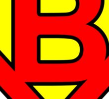 B letter in Superman style Sticker