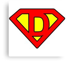 D letter in Superman style Canvas Print