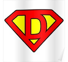 D letter in Superman style Poster