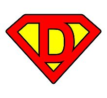 D letter in Superman style Photographic Print