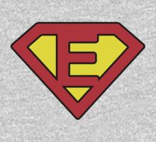 E letter in Superman style Kids Tee