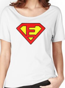 E letter in Superman style Women's Relaxed Fit T-Shirt