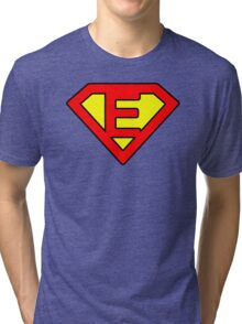 E letter in Superman style Tri-blend T-Shirt
