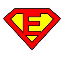 E letter in Superman style Photographic Print