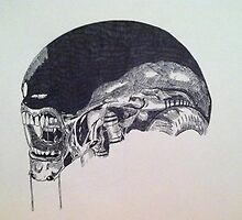 Xenomorph Pen and Ink by Snockard