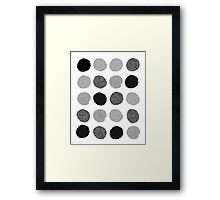 Yves - Silver Black and glitter paintbrush dots in modern style gifts for him or her Framed Print