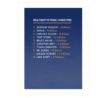 Top 10 Wealthiest fictional characters Art Print