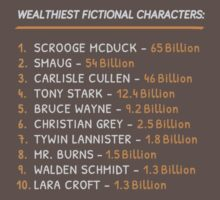 Top 10 Wealthiest fictional characters T-Shirt