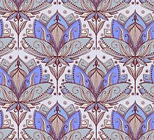 Art Deco Lotus Rising 2 - sage grey & purple pattern by micklyn