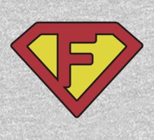 F letter in Superman style Kids Clothes