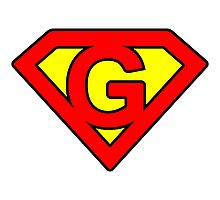 G letter in Superman style Photographic Print
