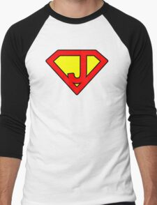 J letter in Superman style Men's Baseball ¾ T-Shirt