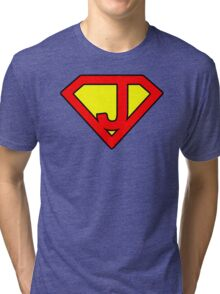 J letter in Superman style Tri-blend T-Shirt