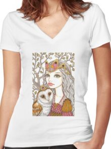 Sisterhood of the white owl Women's Fitted V-Neck T-Shirt