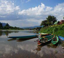 Boats of the Nam Song, Laos by Shuhaha